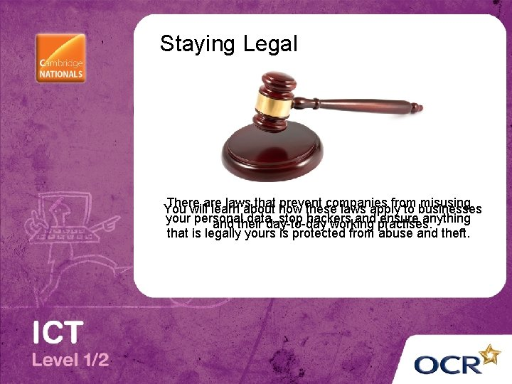 Staying Legal There laws that how prevent companies from misusing You willare learn about