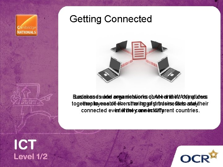Getting Connected Businesses Local and wide and area organisations networks connect (LAN and their