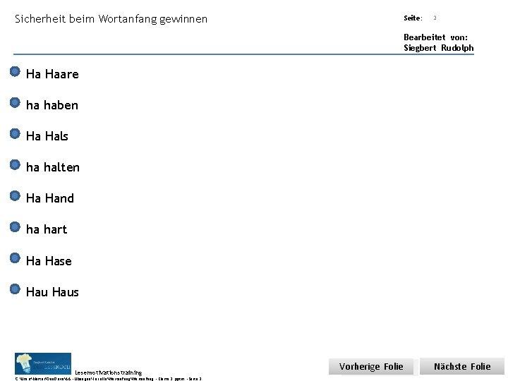 Sicherheit beim Wortanfang gewinnen Übungsart: Seite: Titel: Quelle: 2 Bearbeitet von: Siegbert Rudolph Ha