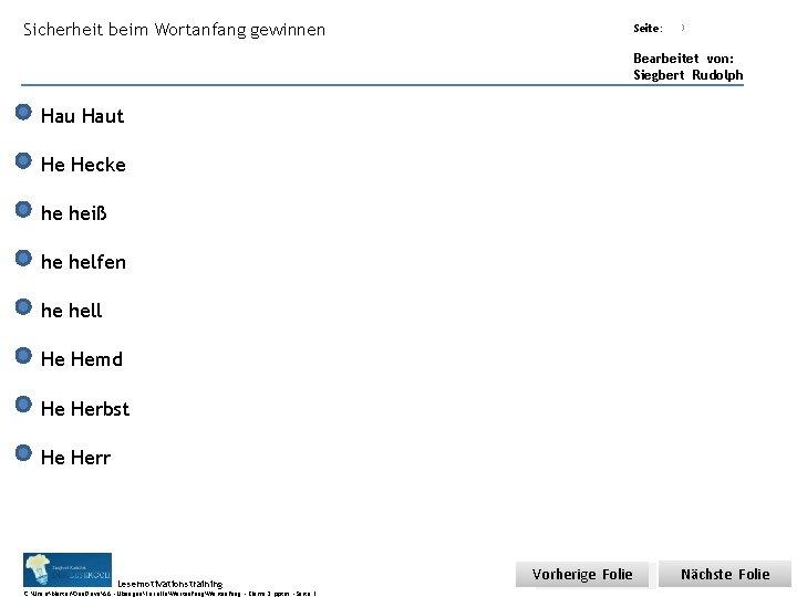 Sicherheit beim Wortanfang gewinnen Übungsart: Seite: Titel: Quelle: 3 Bearbeitet von: Siegbert Rudolph Haut