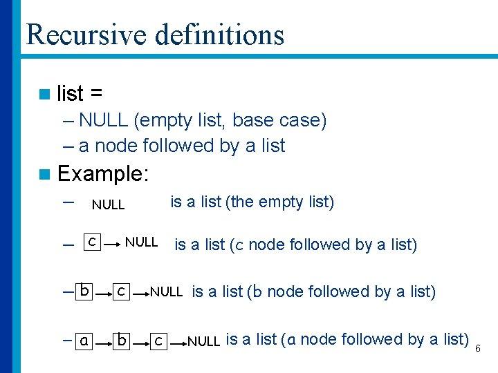 Recursive definitions n list = – NULL (empty list, base case) – a node
