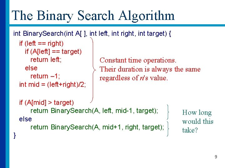 The Binary Search Algorithm int Binary. Search(int A[ ], int left, int right, int