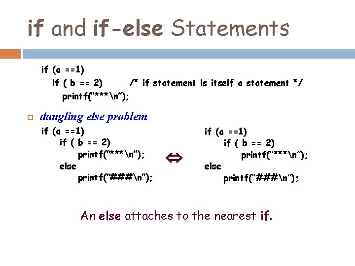 if and if-else Statements if (a ==1) if ( b == 2) /* if