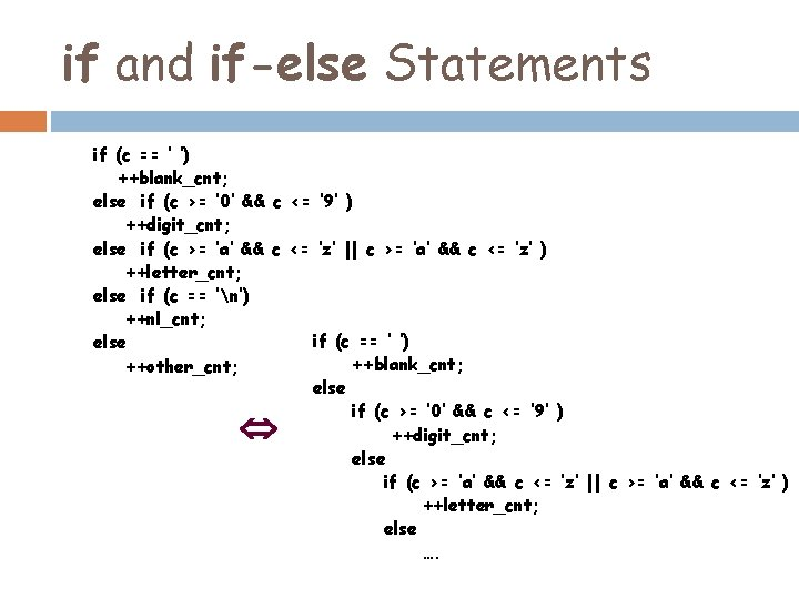 if and if-else Statements if (c == ' ') ++blank_cnt; else if (c >=