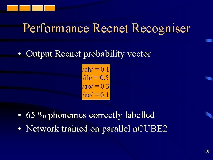 Performance Recnet Recogniser • Output Recnet probability vector /eh/ = 0. 1 /ih/ =