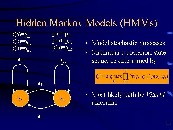Hidden Markov Models (HMMs) p(a)=pa 1 p(b)=pb 1 p(n)=pn 1 p(a)=pa 2 p(b)=pb 2