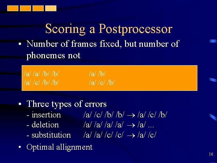 Scoring a Postprocessor • Number of frames fixed, but number of phonemes not /a/