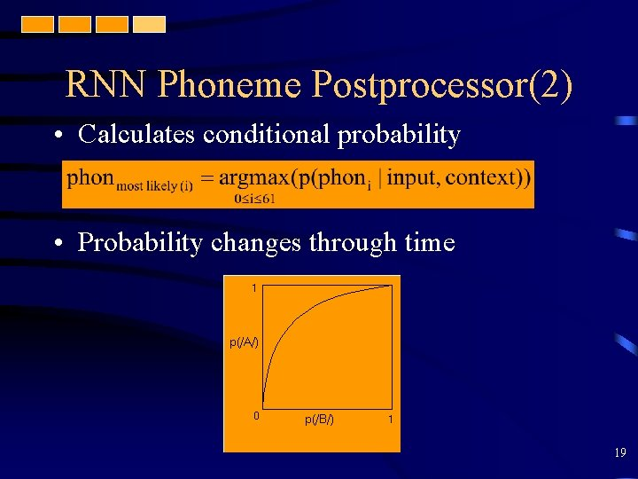 RNN Phoneme Postprocessor(2) • Calculates conditional probability • Probability changes through time 19