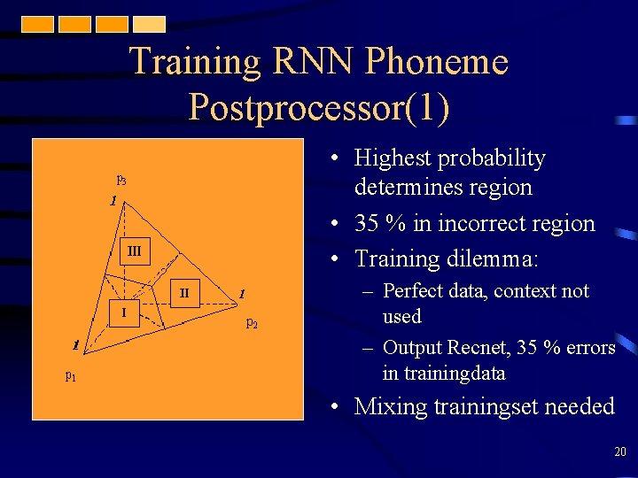 Training RNN Phoneme Postprocessor(1) • Highest probability determines region • 35 % in incorrect