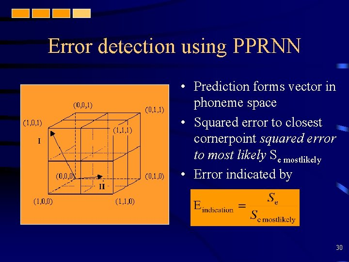 Error detection using PPRNN • Prediction forms vector in phoneme space • Squared error
