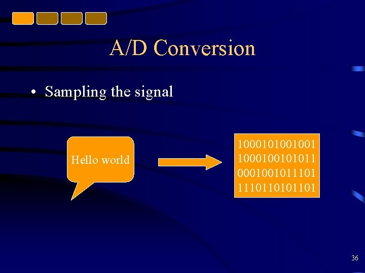 A/D Conversion • Sampling the signal Hello world 1000101001001 1000100101011 0001001011101101 36