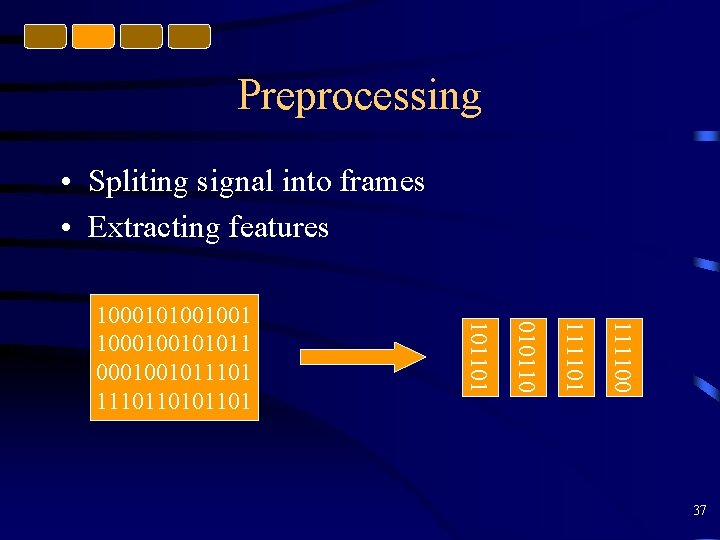 Preprocessing • Spliting signal into frames • Extracting features 111100 111101 0101101 1000101001001 1000100101011