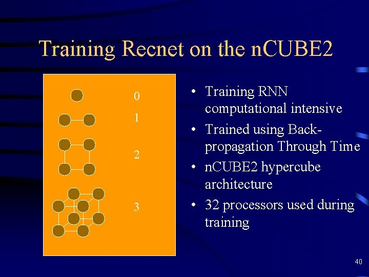 Training Recnet on the n. CUBE 2 0 1 2 3 • Training RNN