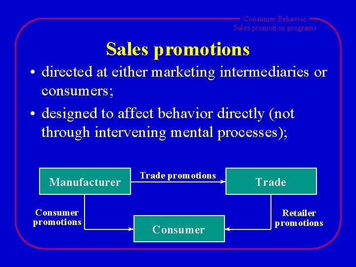 Consumer Behavior Sales promotion programs Sales promotions • directed at either marketing intermediaries or
