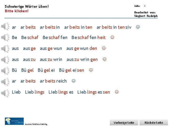 Übungsart: Schwierige Wörter üben! Bitte klicken! Seite: Bearbeitet von: Siegbert Rudolph ar ar beitsin