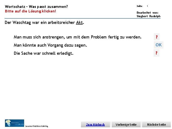 Übungsart: Wortschatz – Was passt zusammen? Bitte auf die Lösung klicken! Seite: 5 Bearbeitet