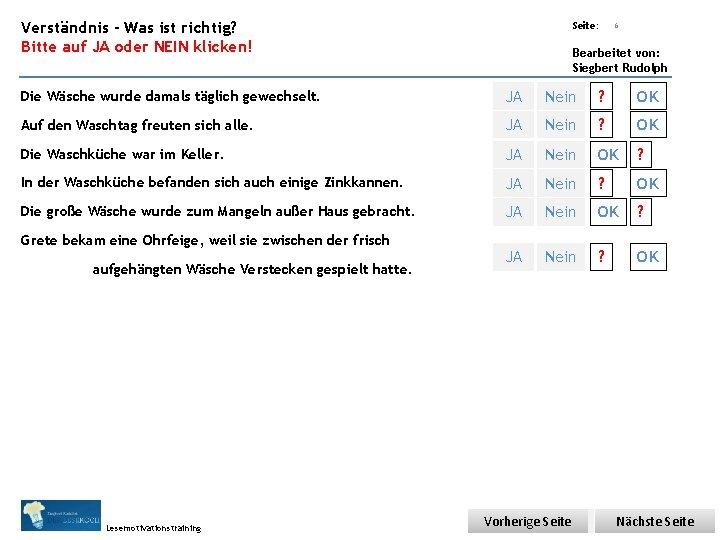 Übungsart: Verständnis - Was ist richtig? Bitte auf JA oder NEIN klicken! Seite: 6