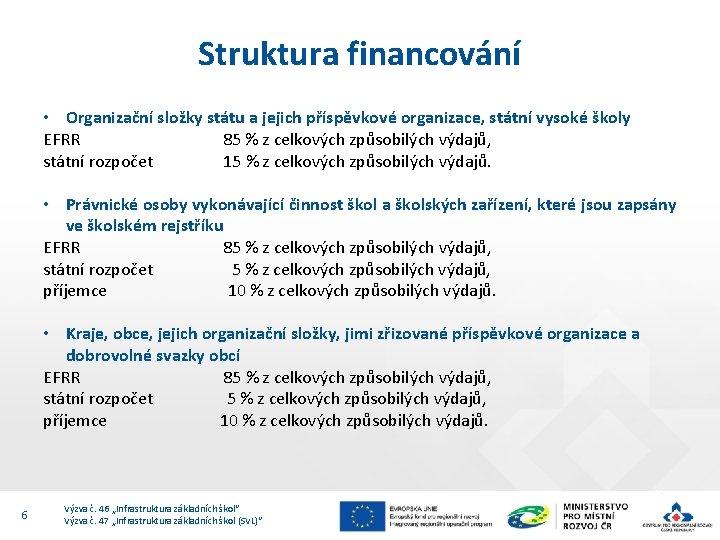 Struktura financování • Organizační složky státu a jejich příspěvkové organizace, státní vysoké školy EFRR