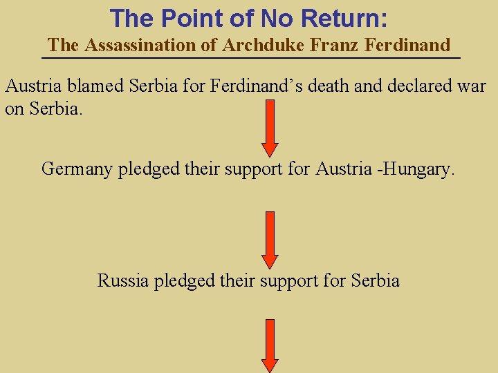 The Point of No Return: The Assassination of Archduke Franz Ferdinand Austria blamed Serbia