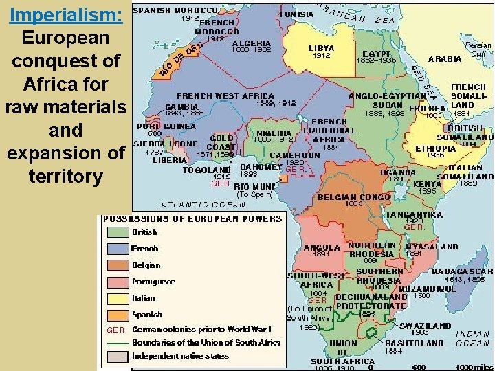 Imperialism: European conquest of Africa for raw materials and expansion of territory