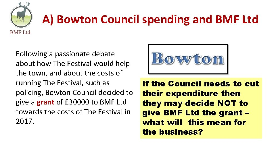 A) Bowton Council spending and BMF Ltd Following a passionate debate about how The