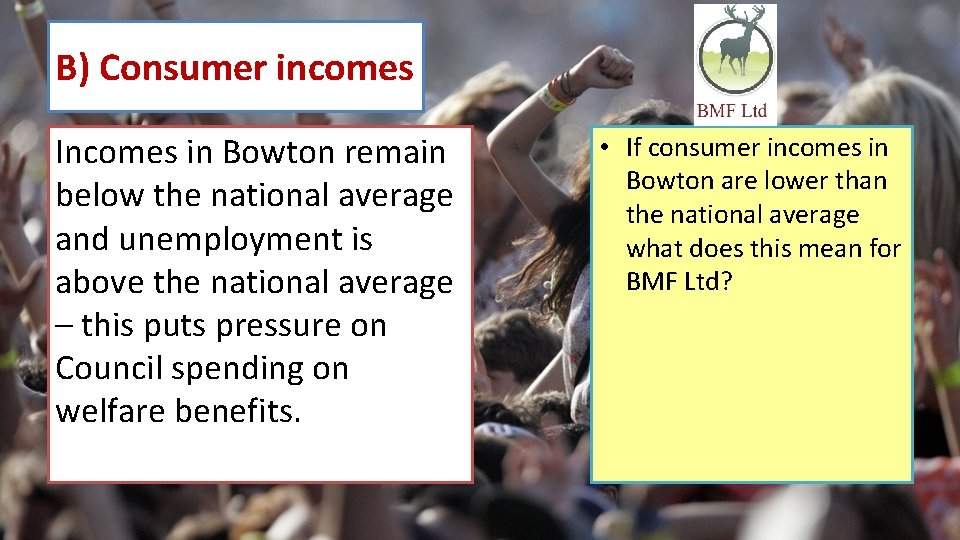 B) Consumer incomes Incomes in Bowton remain below the national average and unemployment is