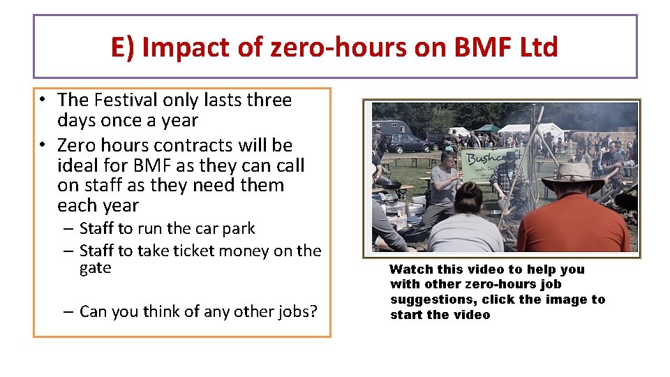 E) Impact of zero-hours on BMF Ltd • The Festival only lasts three days