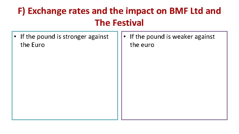 F) Exchange rates and the impact on BMF Ltd and The Festival • If