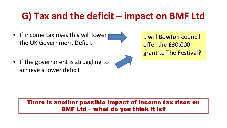G) Tax and the deficit – impact on BMF Ltd • If income tax