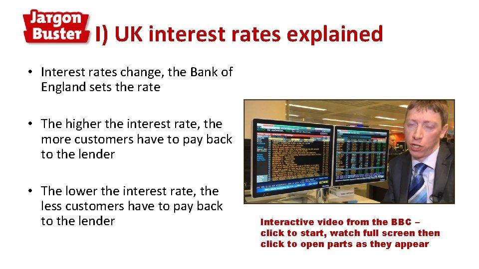 I) UK interest rates explained • Interest rates change, the Bank of England sets