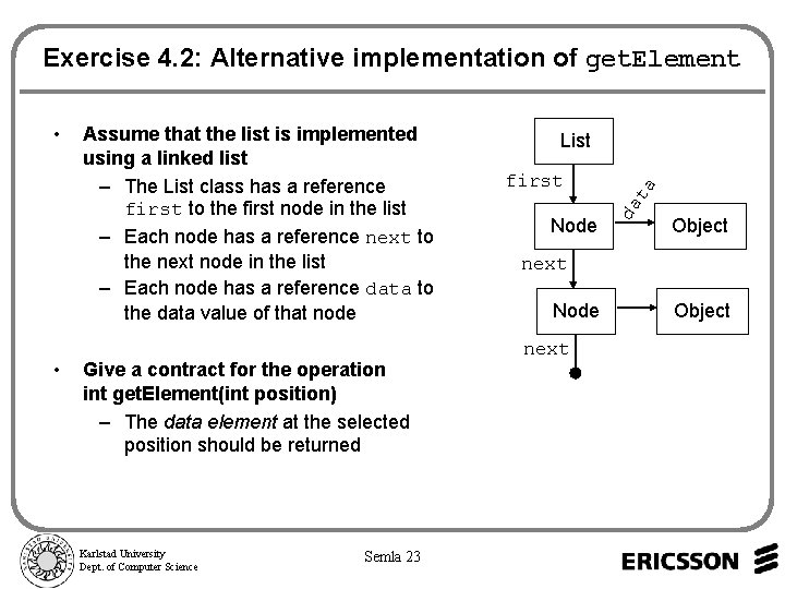 Exercise 4. 2: Alternative implementation of get. Element • Give a contract for the