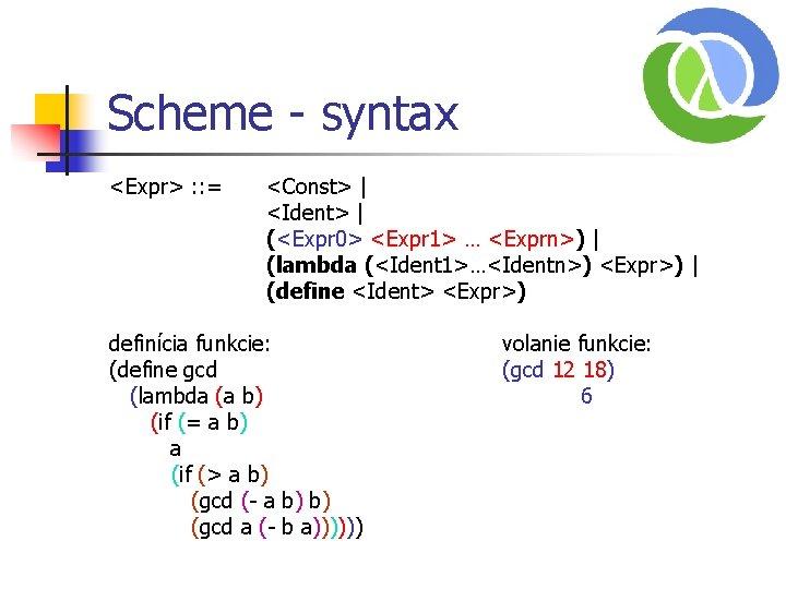 Scheme - syntax <Expr> : : = <Const> | <Ident> | (<Expr 0> <Expr