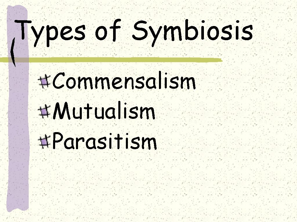 Types of Symbiosis Commensalism Mutualism Parasitism