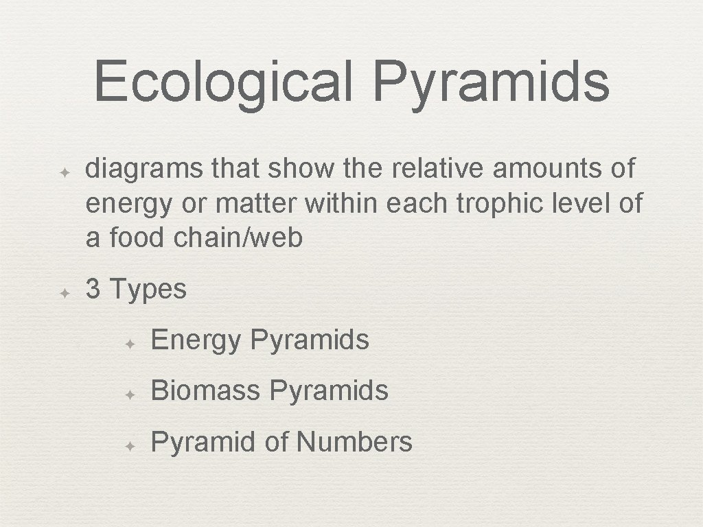 Ecological Pyramids ✦ ✦ diagrams that show the relative amounts of energy or matter