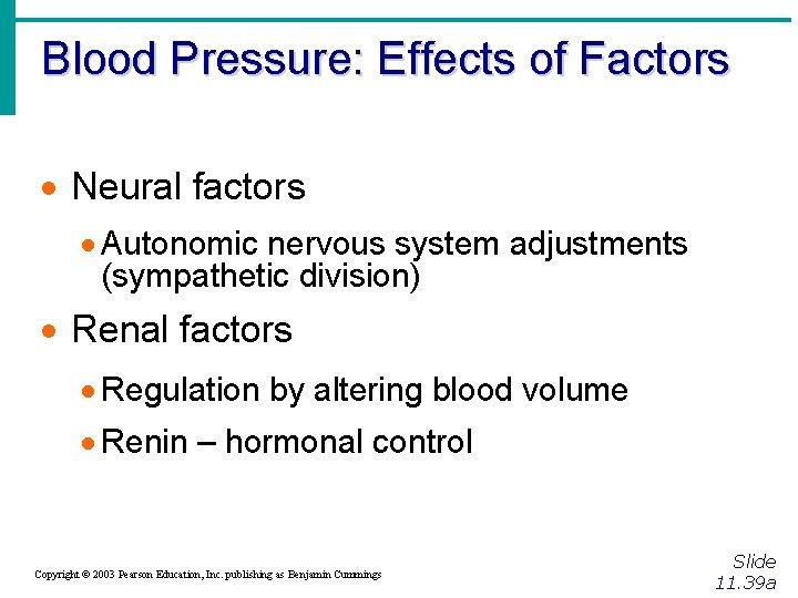 Blood Pressure: Effects of Factors · Neural factors · Autonomic nervous system adjustments (sympathetic