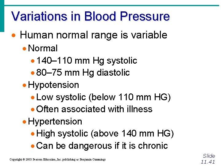 Variations in Blood Pressure · Human normal range is variable · Normal · 140–