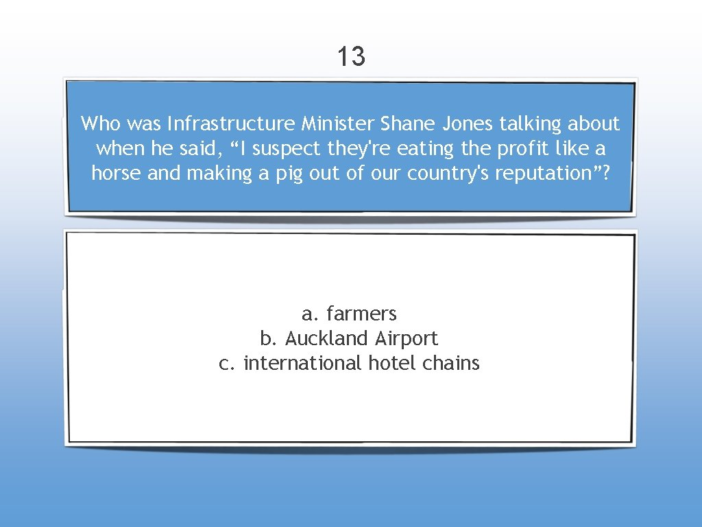 """13 Who was Infrastructure Minister Shane Jones talking about when he said, """"I suspect"""