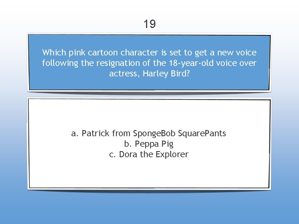 19 Which pink cartoon character is set to get a new voice following the