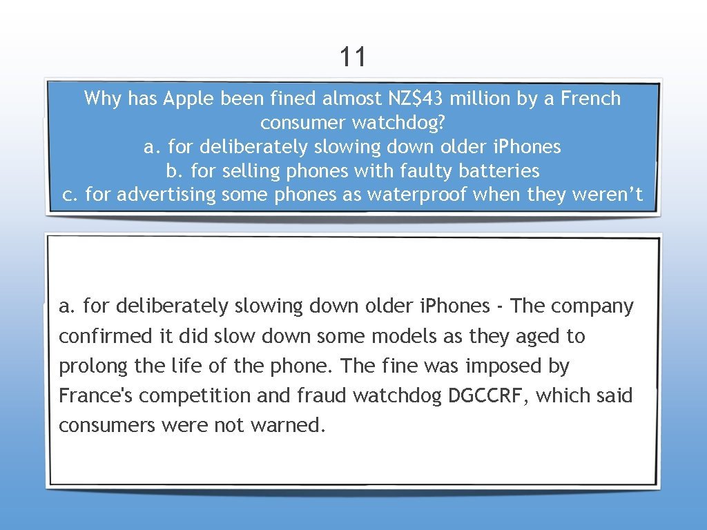 11 Why has Apple been fined almost NZ$43 million by a French consumer watchdog?