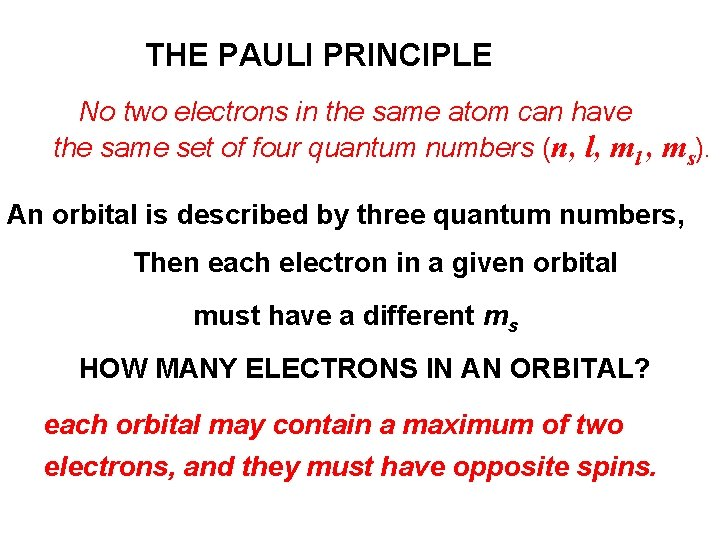 THE PAULI PRINCIPLE No two electrons in the same atom can have the same