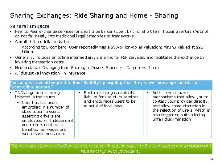 Sharing Exchanges: Ride Sharing and Home - Sharing General Impacts • Peer to Peer