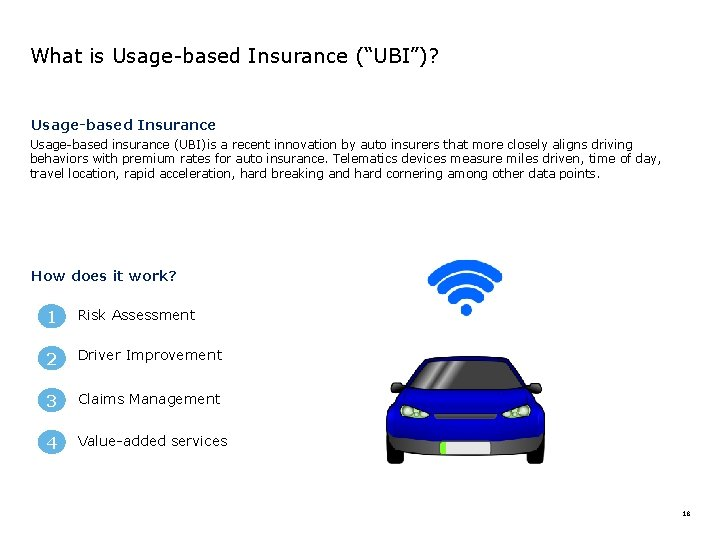"""What is Usage-based Insurance (""""UBI"""")? Usage-based Insurance Usage-based insurance (UBI)is a recent innovation by"""