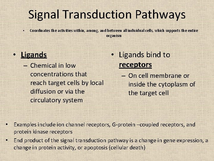 Signal Transduction Pathways • Coordinates the activities within, among, and between all individual cells,