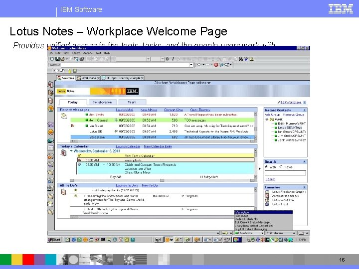 IBM Software Lotus Notes – Workplace Welcome Page Provides unified access to the tools,