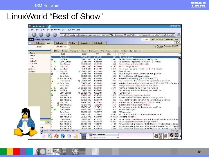"""IBM Software Linux client running on Mozilla Linux. World """"Best of Show"""" 18"""