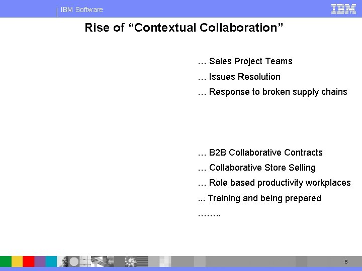 """IBM Software Rise of """"Contextual Collaboration"""" … Sales Project Teams … Issues Resolution …"""