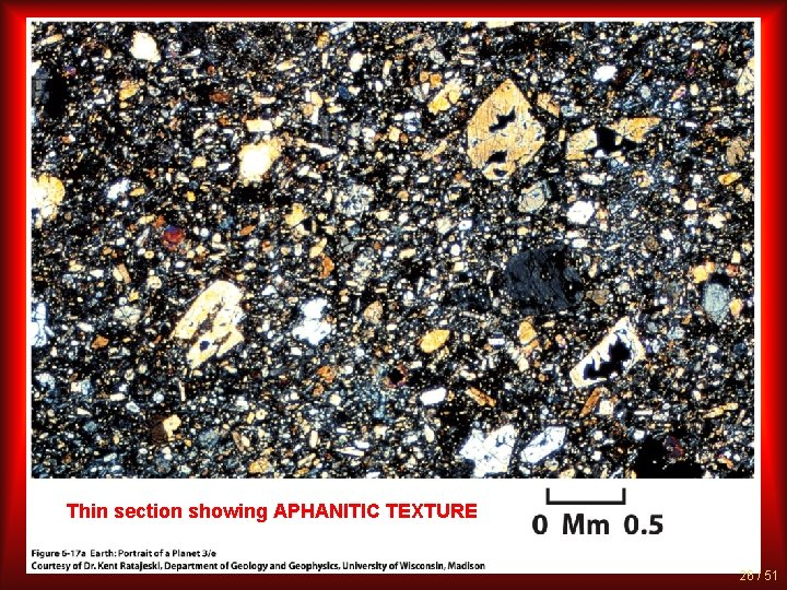 Thin section showing APHANITIC TEXTURE 26 / 51