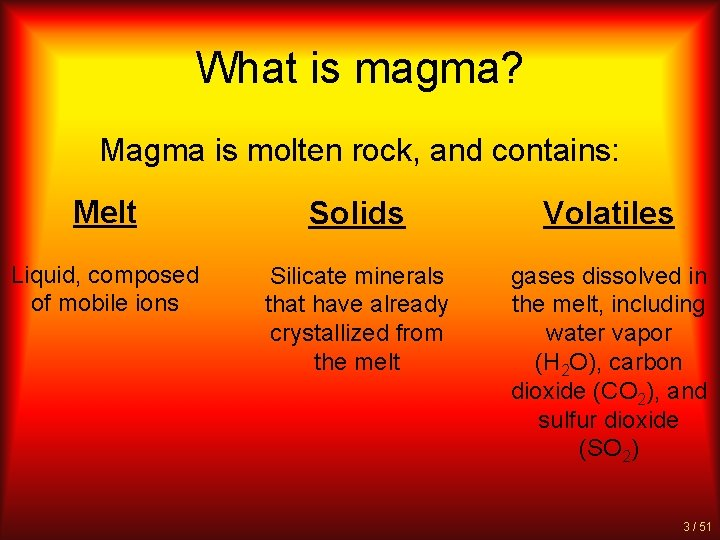 What is magma? Magma is molten rock, and contains: Melt Solids Volatiles Liquid, composed