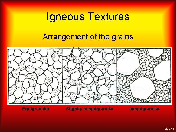 Igneous Textures Arrangement of the grains Equigranular Slightly inequigranular 37 / 51