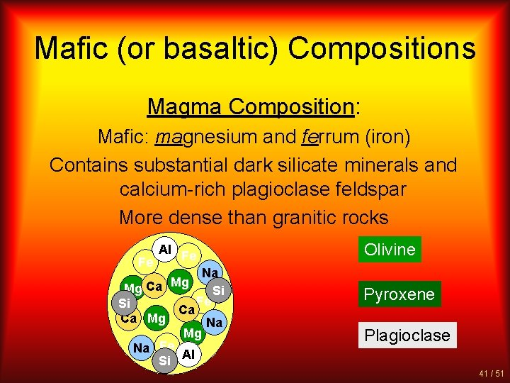 Mafic (or basaltic) Compositions Magma Composition: Mafic: magnesium and ferrum (iron) Contains substantial dark